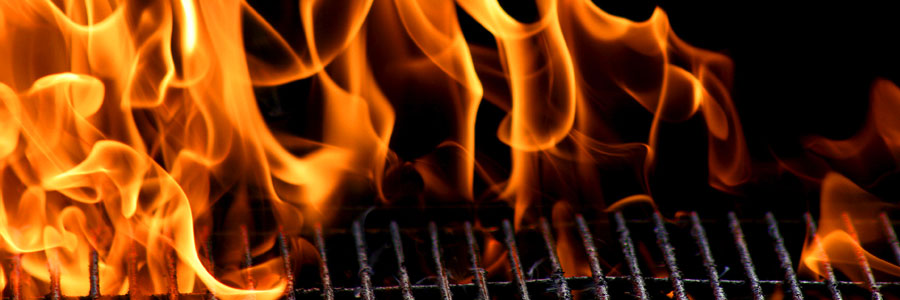 flames on a barbecue grill